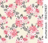 seamless floral pattern with... | Shutterstock .eps vector #583129837