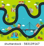 road map with buildings and... | Shutterstock .eps vector #583139167