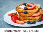 french toast with berries. love ... | Shutterstock . vector #583171333