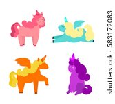 cartoon cute color unicorns set ... | Shutterstock . vector #583172083