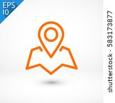 pin on the map  linear icon....   Shutterstock .eps vector #583173877