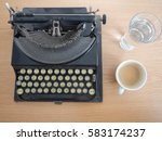 an office table with an old... | Shutterstock . vector #583174237