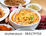 hot and spicy curry noodle on... | Shutterstock . vector #583179703