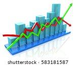 blue bar chart and arrows... | Shutterstock . vector #583181587
