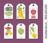 eco and bio food labels set... | Shutterstock .eps vector #583183183