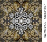 golden pattern on gray... | Shutterstock . vector #583184107