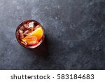 negroni cocktail on dark stone... | Shutterstock . vector #583184683