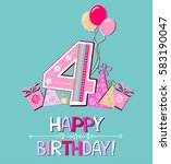 happy birthday card.... | Shutterstock .eps vector #583190047