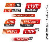 vector tv news banner interface ... | Shutterstock .eps vector #583196713