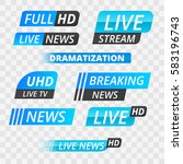vector tv news banner interface ... | Shutterstock .eps vector #583196743