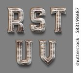 3d rendered font set with wood... | Shutterstock . vector #583198687