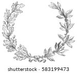 laurel and oak wreath. vector... | Shutterstock .eps vector #583199473
