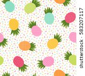 colorful pineapple seamless... | Shutterstock .eps vector #583207117