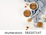 homemade granola  with dried... | Shutterstock . vector #583207147