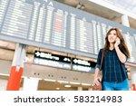 beautiful asian woman traveler... | Shutterstock . vector #583214983