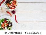 fresh vegetable salads on white ... | Shutterstock . vector #583216087
