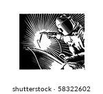 arc welder   retro clip art | Shutterstock .eps vector #58322602