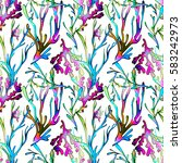 Seamless Pattern With Seaweed...