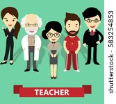 school teachers team  vector... | Shutterstock .eps vector #583254853