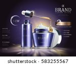 cosmetic set ads  purple cream... | Shutterstock .eps vector #583255567