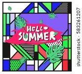 trendy vector summer cards...   Shutterstock .eps vector #583261207