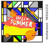 trendy vector summer cards...   Shutterstock .eps vector #583261213