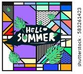 trendy vector summer cards...   Shutterstock .eps vector #583261423
