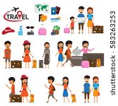 travel and tourism infographic... | Shutterstock .eps vector #583263253