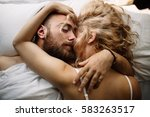 pretty loving couple is... | Shutterstock . vector #583263517