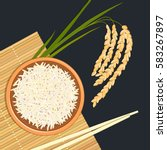 rice in ceramic bowl with... | Shutterstock .eps vector #583267897
