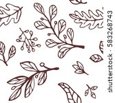 hand drawn leaves pattern. use... | Shutterstock .eps vector #583268743