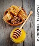 honey comb honey and liquid... | Shutterstock . vector #583269997