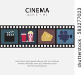 flat movie time poster with... | Shutterstock .eps vector #583277023