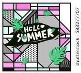 trendy vector summer cards...   Shutterstock .eps vector #583277707