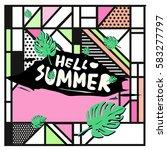 trendy vector summer cards...   Shutterstock .eps vector #583277797