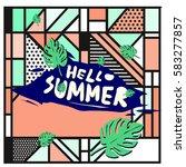 trendy vector summer cards...   Shutterstock .eps vector #583277857
