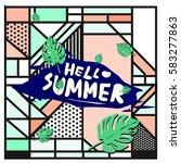 trendy vector summer cards...   Shutterstock .eps vector #583277863