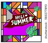 trendy vector summer cards...   Shutterstock .eps vector #583277893