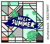 trendy vector summer cards...   Shutterstock .eps vector #583278997
