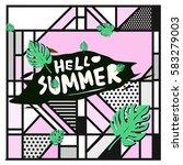trendy vector summer cards...   Shutterstock .eps vector #583279003