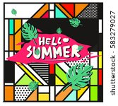 trendy vector summer cards...   Shutterstock .eps vector #583279027