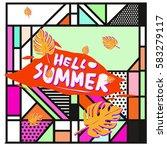 trendy vector summer cards...   Shutterstock .eps vector #583279117