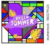 trendy vector summer cards...   Shutterstock .eps vector #583279123