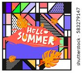 trendy vector summer cards...   Shutterstock .eps vector #583279147