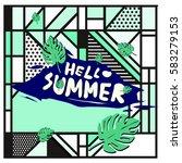 trendy vector summer cards...   Shutterstock .eps vector #583279153