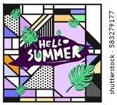 trendy vector summer cards...   Shutterstock .eps vector #583279177
