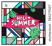 trendy vector summer cards...   Shutterstock .eps vector #583279207