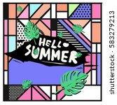 trendy vector summer cards...   Shutterstock .eps vector #583279213