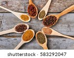 aromatic spices in wooden...   Shutterstock . vector #583292047