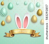 happy easter template with gold ... | Shutterstock .eps vector #583292857